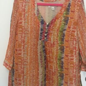 SILK LINED MULTI-COLOR TOP COLDWATER CREEK. SZ.1X